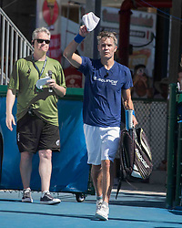 November 5, 2017 - Delray Beach, Florida, US - Actor TIMOTHY OLYPHANT doffs his hat on entering court at the Delray Beach Stadium and Tennis Center in Florida during the 2017 Chris Evert/ Raymond James Pro-Celebrity Tennis Classic. Chris Evert Charities has raised more than $23 million in an ongoing campaign for Florida's most at-risk children. (Credit Image: © Arnold Drapkin via ZUMA Wire)