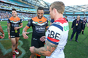 Benji Marshall and Jake Friend shake hands after the Tigers beat the Roosters. Wests Tigers v Sydney Roosters. NRL Rugby League. ANZ Stadium, Sydney, Australia. 10th March 2018. Copyright Photo: David Neilson / www.photosport.nz