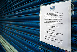 Signs of the Corona Virus. RSPCA Charity Shop Chapeltown Sheffield<br /> 21 March 2020<br /> <br /> www.pauldaviddrabble.co.uk<br /> All Images Copyright Paul David Drabble - <br /> All rights Reserved - <br /> Moral Rights Asserted -
