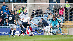 Falkirk's Blair Alston shots into Dundee's Adam Cummins.<br /> Dundee 0 v 1 Falkirk, Scottish Championship game played today at Dundee's Dens Park.<br /> © Michael Schofield.