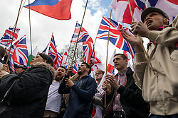 © Licensed to London News Pictures . 01/04/2017 . London , UK . Britain First hold a demonstration on Victoria Embankment . The EDL and Britain First both hold demonstrations in London , opposed by anti-fascist groups , including Unite Against Fascism . Photo credit : Joel Goodman/LNP