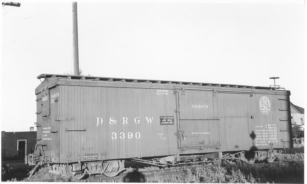 Box car #3390 at Antonito, CO.<br /> D&RGW  Antonito, CO  Taken by Maxwell, John W. - 7/2/1941