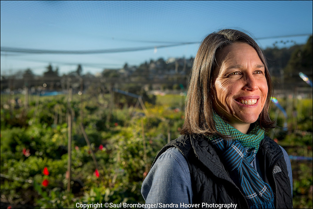 UC Berkeley's School of Natural Resources Breakthroughs Magazine - UC Berkeley Professor Jennifer Sowerwine is part of an initiative to help Hmong farmers in California both sustain and grow their operations. She is helping the farmers deal with the ramifications of the state's drought and helping them access government assistance if they need it. She also helped create a more culturally appropriate food safety training program to help them meet the requirements of certain buyers. She is photographed at the UC Gill Tract Community Farm.