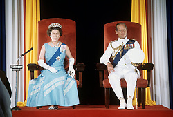 File photo dated 31/10/77 of Queen Elizabeth II and the Duke of Edinburgh during the State Opening of Parliament in Bridgetown, Barbados, during her Silver Jubilee tour of the Caribbean. Prince Philip's final public engagement takes place on Wednesday, before he retires at the age of 96.