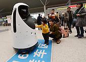 Police Robot Patrols At Zhengzhou East Railway Station