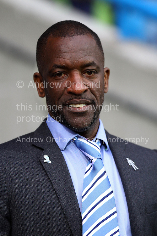 Huddersfield Town Manager Chris Powell looks on prior to kick off. Skybet football league championship match, Huddersfield Town v Birmingham city at the John Smith's stadium in Huddersfield, Yorkshire on Saturday 20th December 2014.<br /> pic by Chris Stading, Andrew Orchard sports photography.
