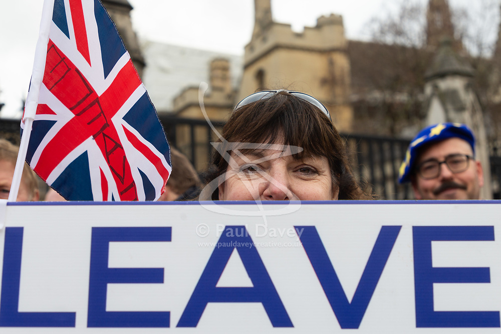 A woman's placard makes her sentiments known regarding the UK's membership of the EU. London, January 15 2019.