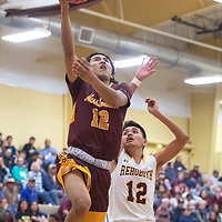 Tohatchi Cougar Haley Yazzie (12) drives to the basket for a layup as Rehoboth Lynx Seth Lee (12) defends Tuesday night in Rehoboth. Rehoboth defeated Tohatchi 64-40.