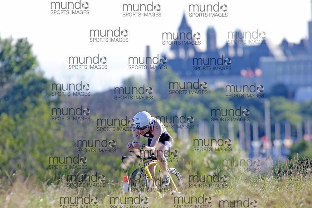 (Ottawa, Canada---10 August 2013)  Christopher Owens (641)  of Great Britain (GBR) competing in the 60-64 Male AG International Triathlon Union 2013 World Duathlon Championships (10 km run- 40 km bike- 5km run).