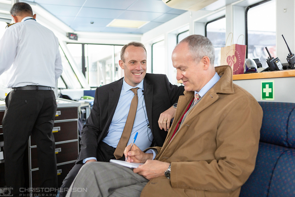 Conservative Party leadership candidate Dominic Raab MP pictured during an interview with Gordon Rayner on the ferry from Portsmouth to Ryde on the Isle of Wight today for The Daily Telegraph.<br /> Picture date: Friday June 14, 2019.<br /> Photograph by Christopher Ison ©<br /> 07544044177<br /> chris@christopherison.com<br /> www.christopherison.com