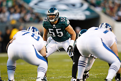 Philadelphia Eagles linebacker Stewart Bradley #55 during the NFL Game between the Indianapolis Colts and the Philadelphia Eagles. The Eagles won 26-24 at Lincoln Financial Field in Philadelphia, Pennsylvania on Sunday November 7th 2010. (Photo By Brian Garfinkel)