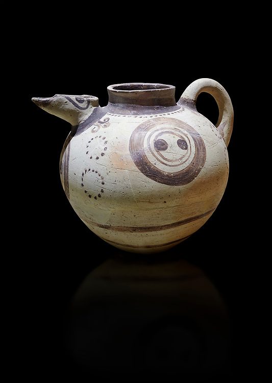 Minoan clay polychrome pithoid jar with painted circles, Akrotiri, Thira (Santorini) National Archaeological Museum Athens. 17th-16th cent BC. .<br /> <br /> If you prefer to buy from our ALAMY PHOTO LIBRARY  Collection visit : https://www.alamy.com/portfolio/paul-williams-funkystock/minoan-art-artefacts.html . Type -   Athens    - into the LOWER SEARCH WITHIN GALLERY box. Refine search by adding background colour, place, museum etc<br /> <br /> Visit our MINOAN ART PHOTO COLLECTIONS for more photos to download  as wall art prints https://funkystock.photoshelter.com/gallery-collection/Ancient-Minoans-Art-Artefacts-Antiquities-Historic-Places-Pictures-Images-of/C0000ricT2SU_M9w