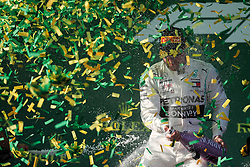 MELBOURNE, March 17, 2019  First-placed Mercedes driver Valtteri Bottas of Finland celebrates during the awarding ceremony of Formula 1 Australian Grand Prix 2019 at the Albert Park in Melbourne, Australia, March 17, 2019. (Credit Image: © Bai Xuefei/Xinhua via ZUMA Wire)