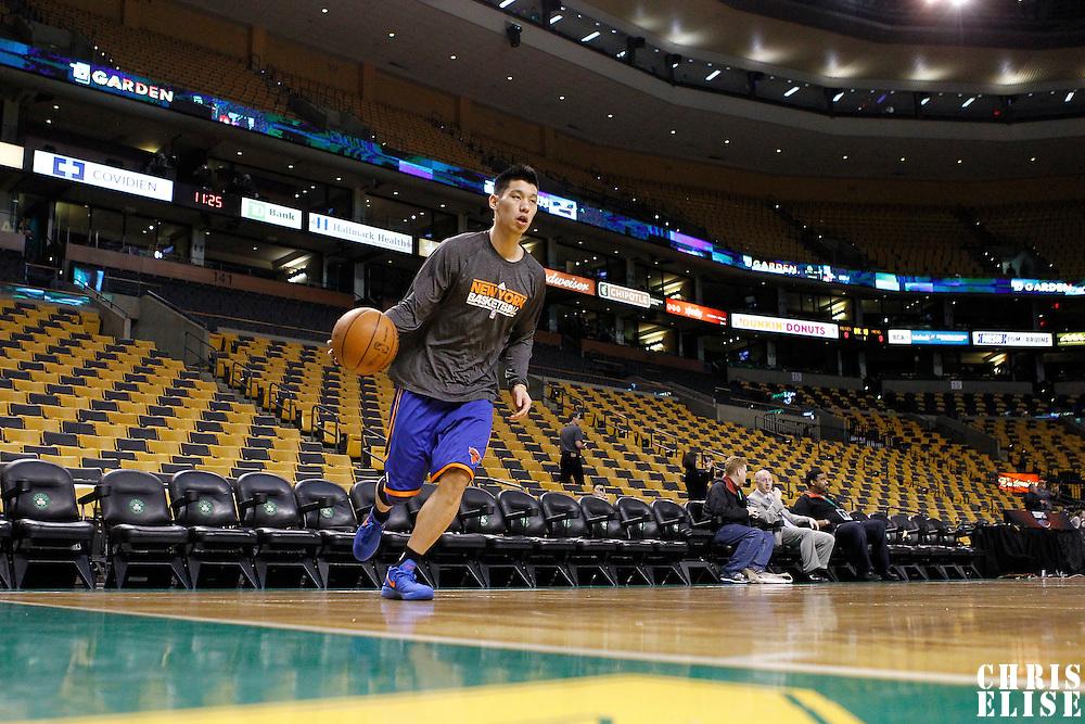 04 March 2012: New York Knicks point guard Jeremy Lin (17) warms up prior to Boston Celtics vs New York Knicks at the TD Garden, Boston, Massachusetts, USA.