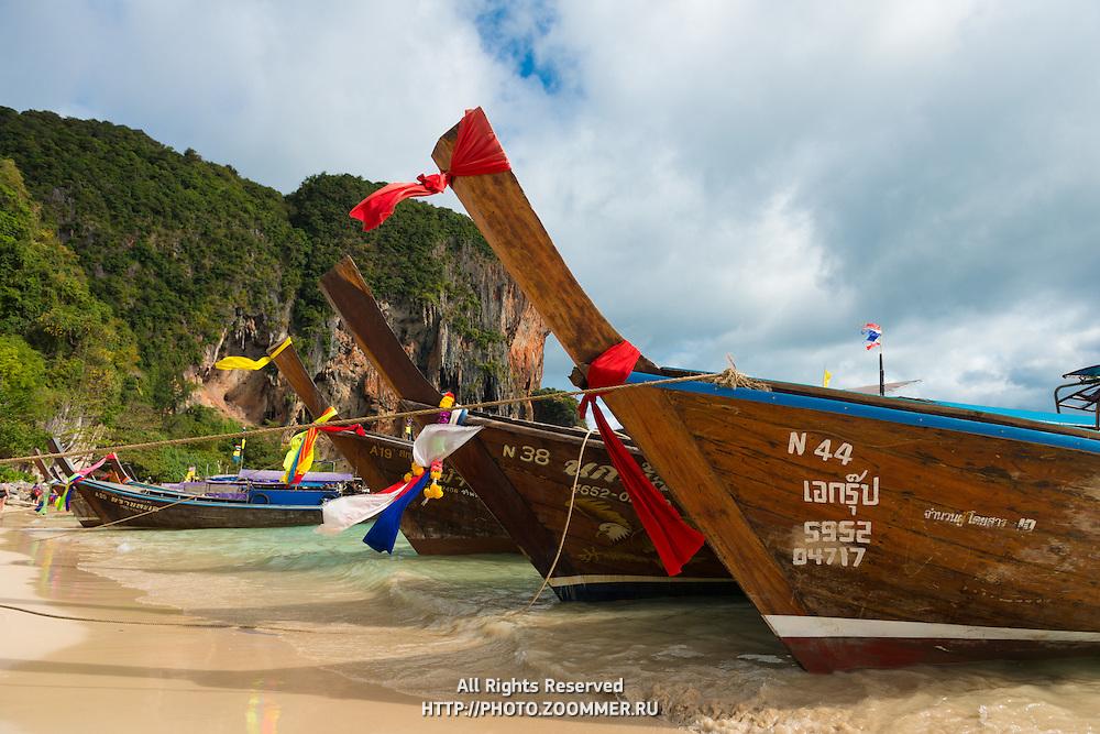 Longtail Boats On Phra Nang Beach in Krabi, Thailand