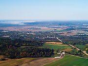 Aerial view of Sauk City (Sauk Prairie & Prairie du Sac), Wisconsin.