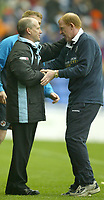 Photo Aidan Ellis, Digitalsport<br /> NORWAY ONLY<br /> <br /> Reading v West Bromwich Albion.<br /> Nationwide Divison 1.<br /> 01/05/2004.<br /> Reading manager Steve Coppell and West Brom manager Gary Megson at the end of the game