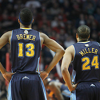 26 March 2012: Denver Nuggets small forward Corey Brewer (13) and Denver Nuggets point guard forward Andre Miller (24) are seen during the Denver Nuggets 108-91 victory over the Chicago Bulls at the United Center, Chicago, Illinois, USA. NOTE TO USER: User expressly acknowledges and agrees that, by downloading and or using this photograph, User is consenting to the terms and conditions of the Getty Images License Agreement. Mandatory Credit: 2012 NBAE (Photo by Chris Elise/NBAE via Getty Images)