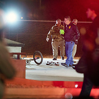 Gallup Police Officers investigate a shooting at the Gallup Skate Park Monday evening in downtown Gallup. Three males were shot and are reported to be in stable condition at local hospitals.