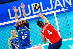 Tomas Parraguirre of Chile vs Klemen Cebulj of Slovenia during volleyball match between Slovenia and Chile in Group A of FIVB Volleyball Challenger Cup Men, on July 3, 2019 in Arena Stozice, Ljubljana, Slovenia. Photo by Matic Klansek Velej / Sportida