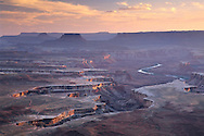 Sunset light over Soda Springs Basin from Green River Overlook, Island in the Sky, Canyonlands National Park, UTAH