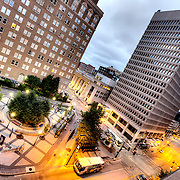 High angle view from parking garage of 10th and Main KCATA Transit Center, downtown Kansas City, Missouri.