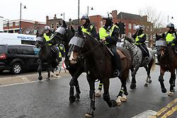 Police presence on horseback outside White Hart Lane prior to the match