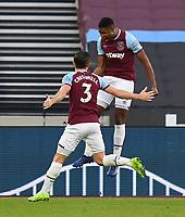 Football - 2020 / 2021 Premier League - West Ham United vs Brighton & Hove Albion - London Stadium<br /> <br /> West Ham United's Ben Johnson celebrates scoring his side's first goal.<br /> <br /> COLORSPORT/ASHLEY WESTERN