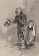 In defiance of the law': Father and child begging , Britain c1840. Begging was against the law.