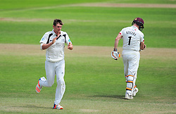 Harry Podmore of Middlesex celebrates the wicket of Chris Rogers.  - Mandatory by-line: Alex Davidson/JMP - 12/07/2016 - CRICKET - Cooper Associates County Ground - Taunton, United Kingdom - Somerset v Middlesex - Day 3 - Specsavers County Championship Division One