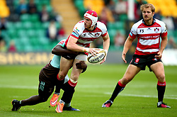 Mason Tonks of Gloucester Rugby is tackled - Mandatory by-line: Robbie Stephenson/JMP - 28/07/2017 - RUGBY - Franklin's Gardens - Northampton, England - Harlequins v Gloucester Rugby - Singha Premiership Rugby 7s