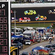 The scoreboard is seen during the Daytona 500 at Daytona International Speedway on February 20, 2011 in Daytona Beach, Florida. (AP Photo/Alex Menendez)