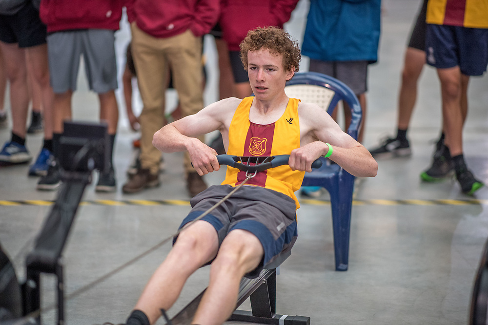 Xavier Jarvis MALE HEAVYWEIGHT U15 2K Race #4  09:15am<br /> <br /> <br /> www.rowingcelebration.com Competing on Concept 2 ergometers at the 2018 NZ Indoor Rowing Championships. Avanti Drome, Cambridge,  Saturday 24 November 2018 © Copyright photo Steve McArthur / @RowingCelebration