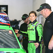 Danica Patrick, driver of the #7 GoDaddy Chevrolet stands with crew chief Tony Eury Jr. during practice for the 60th Annual NASCAR Daytona 500 auto race at Daytona International Speedway on Friday, February 16, 2018 in Daytona Beach, Florida.  (Alex Menendez via AP)
