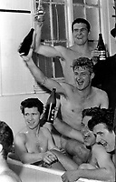 Fotball<br /> Liverpool<br /> Foto: Colorsport/Digitalsport<br /> NORWAY ONLY<br /> <br /> Liverpool players celebrate in the bath after their Semi Final victory. Top: Ron Yeats, Roger Hunt (Centre) Chris Lawler (Bottom left) Ralph Milne and Tommy Lawrence (right). Liverpool v Chelsea. FA Cup Semi final @ Villa Park. 27/3/65.
