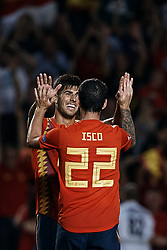 September 11, 2018 - Elche, Alicante, Spain - Isco Alarcon of Spain celebrates a goal with his teammate Marco Asensio during the UEFA Nations League A group four match between Spain and Croatia at Manuel Martinez Valero on September 11, 2018 in Elche, Spain  (Credit Image: © David Aliaga/NurPhoto/ZUMA Press)