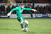 Alfreton Town goalkeeper Fabian Speiss during the The FA Cup match between Newport County and Alfreton Town at Rodney Parade, Newport, Wales on 15 November 2016. Photo by Andrew Lewis.