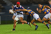 Auckland player Tumua Manu on the charge against Bay of Plenty during the Mitre 10 Cup match played at Rotorua International Stadium in Rotorua on Friday 2nd October 2020.<br /> Copyright photo: Alan Gibson / www.photosport.nz