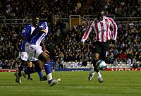 Photo: Steve Bond.<br />Birmingham City v Sunderland. The FA Barclays Premiership. 15/08/2007. Stern John (R) adds force to the Sunderland attack