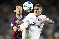 Marco Verratti of PSG and Sergio Busquets of Barcelona during the UEFA Champions League football match quarter final, 2 leg, between FC Barcelona and Paris Saint Germain on April 21, 2015 at Camp Nou stadium in Barcelona, Spain. Photo Bagu Blanco / DPPI