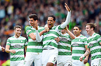 19/04/15 WILLIAM HILL SCOTTISH CUP SEMI-FINAL<br /> INVERNESS CT v CELTIC<br /> HAMPDEN - GLASGOW<br /> Celtic's Virgil Van Dijk (centre) celebrates his goal with his team-mates