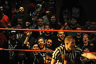 """The crowd cheers during a bout at the Beyond Wrestling Organization's """"Dream Left Behind"""" event, held at the Center for Arts at the Armory in Somerville, Sunday, Jan. 31, 2016."""
