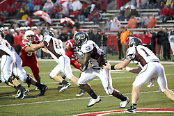 25 September 2010:  Cody Kirby hands off to running back Chris Douglas.  The Missouri State Bears lost to the Illinois State Redbirds 44-41 in double overtime, meeting at Hancock Stadium on the campus of Illinois State University in Normal Illinois.