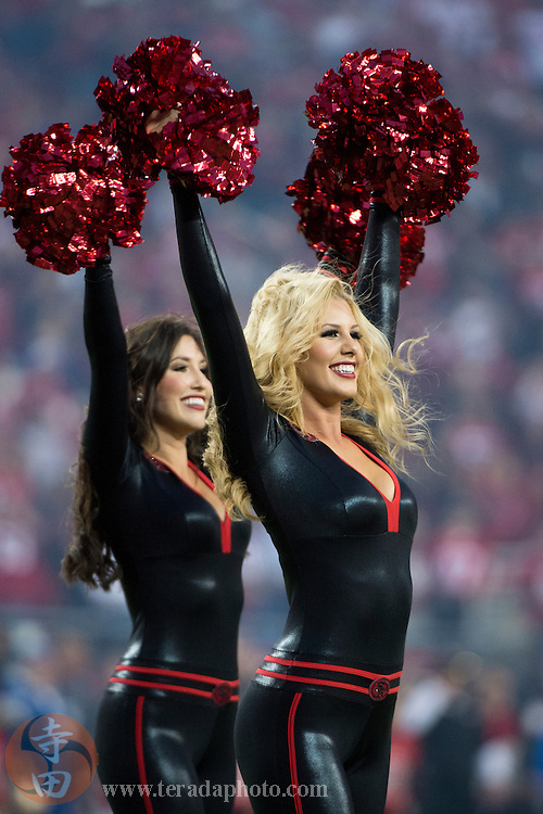 September 14, 2015; Santa Clara, CA, USA; San Francisco 49ers Gold Rush cheerleaders Brooke (right) and Kiirsta (left) perform before the game against the Minnesota Vikings at Levi's Stadium. The 49ers defeated the Vikings 20-3.