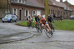 Amy Pieters leads the escape group with 1.5 laps to go at the 112.8 km Le Samyn des Dames on March 1st 2017, from Quaregnon to Dour, Belgium. (Photo by Sean Robinson/Velofocus)