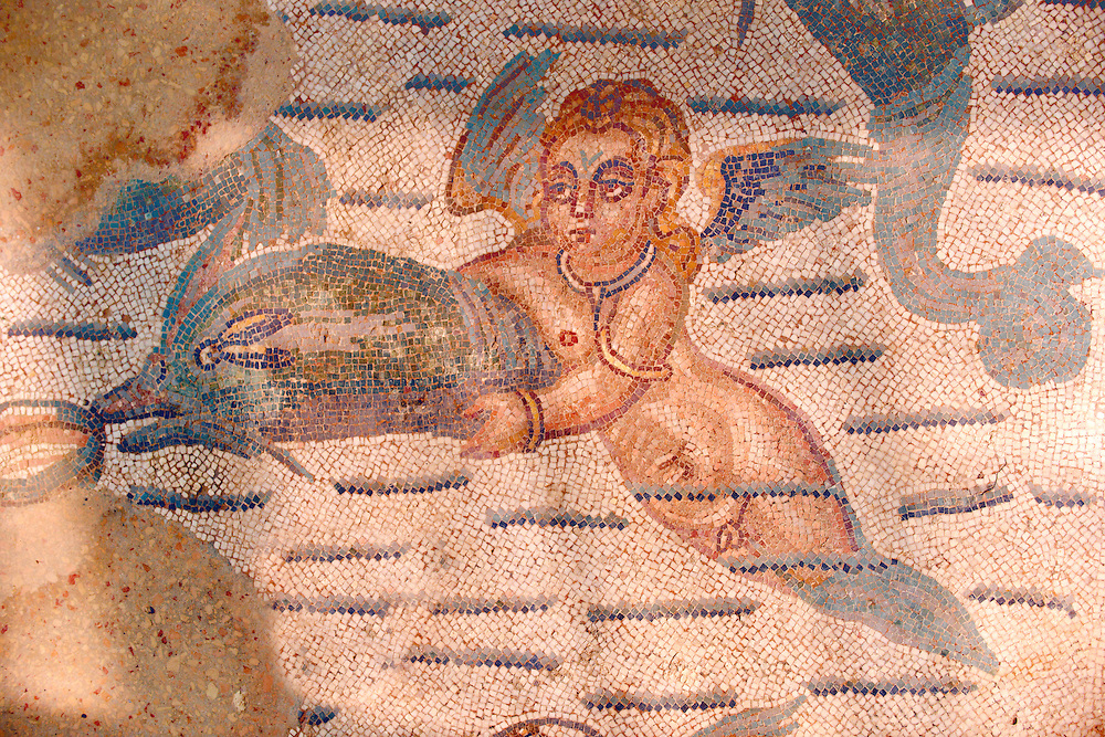 Cupid swimming with a dolphin. Roman mosaics at the Villa Romana del Casale which containis the richest, largest and most complex collection of Roman mosaics in the world. Constructed  in the first quarter of the 4th century AD. Sicily, Italy. A UNESCO World Heritage Site. .<br /> <br /> If you prefer to buy from our ALAMY PHOTO LIBRARY  Collection visit : https://www.alamy.com/portfolio/paul-williams-funkystock/villaromanadelcasale.html<br /> Visit our ROMAN MOSAICS  PHOTO COLLECTIONS for more photos to buy as buy as wall art prints https://funkystock.photoshelter.com/gallery/Roman-Mosaics-Roman-Mosaic-Pictures-Photos-and-Images-Fotos/G00008dLtP71H_yc/C0000q_tZnliJD08