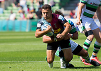 Rugby Union -2020/2021 Gallagher Premiership - Round 22 -<br />Harlequins vs Newcastle Falcons - The Stoop<br /><br />Danny Care caught by George McGuigan of Newcastle Falcons