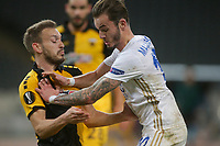 ATHENS, GREECE - OCTOBER 29: James Maddisonof Leicester City and Hélder Lopesof AEK Athens during the UEFA Europa League Group G stage match between AEK Athens and Leicester City at Athens Olympic Stadium on October 29, 2020 in Athens, Greece. (Photo by MB Media)