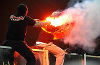 I disordini dei tifosi serbi che bruciano una bandiera dell'Albania<br /> Italia Serbia - Qualificazioni Euro 2012<br /> Stadio Luigi Ferraris di Marassi, Genova, 12/10/2010<br /> © Giorgio Perottino / Insidefoto