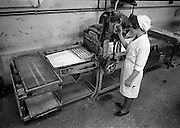 23/01/1963<br /> 01/23/1963<br /> 23 January 1963<br /> Interior of Liam Devlin and Son Ltd. factory at Cork Street, Dublin. Picture seems to show machine for cutting candy sticks for sweet cigarettes.